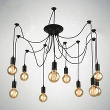 Vendimia nordic araña lámpara colgante múltiple ajustable luces retro colgante desván clásico decorativo accesorio de iluminación led para el hogar