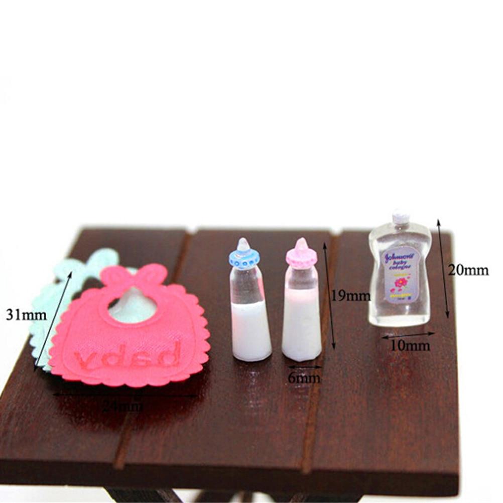 Vente chaude 1:12 poupées maison Miniature biberons shampooing bavoirs ensemble pépinière accessoire cadeau (lot de 5)