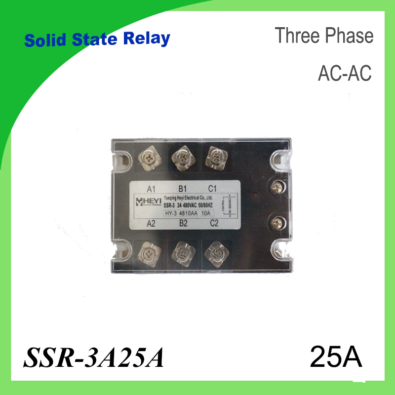 SSR-3A25A  AC to AC 3 Phase Solid State Relay 25A High quality input 70-280VAC output 24-480VAC Temperature Controller 4 20ma to ac 28 280v 25a one phase 35mm din rail socket solid state relay