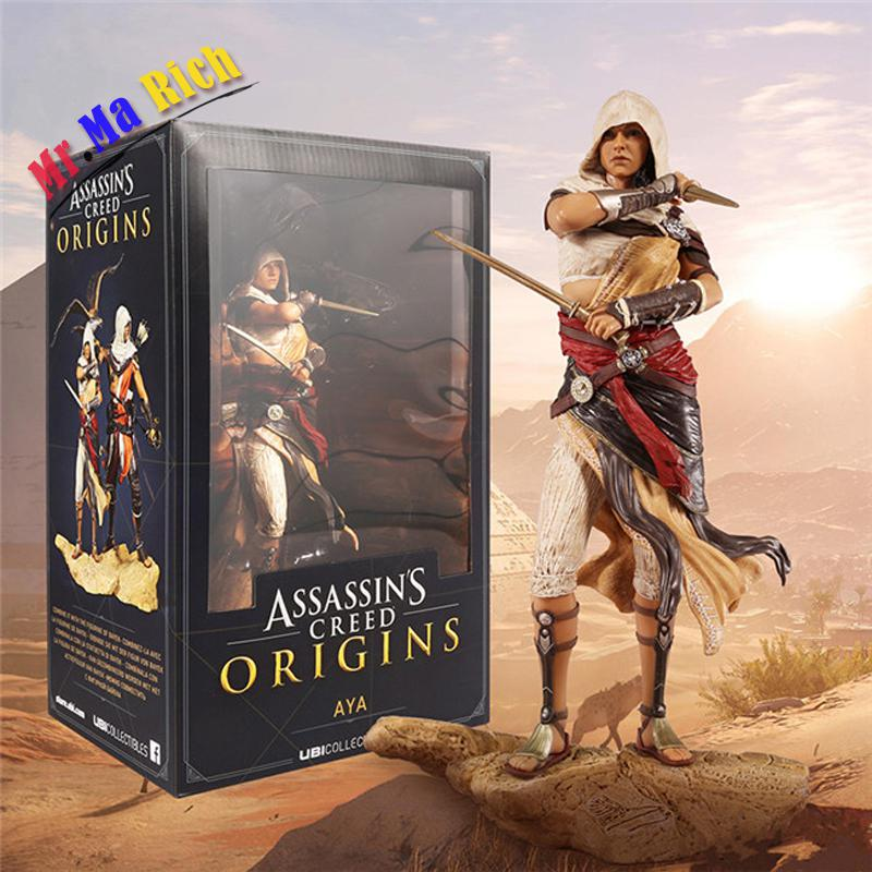 Anime 27 Cm Assassin 's Creed Origini Aya Action Pvc Figure Collection Model Toy Doll assassin s creed origins action figure bayek aya pvc 230mm anime assassin s creed origins figurine model toys