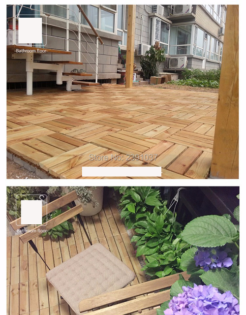 Outdoor Anticorrosive Wood Flooring Garden Balcony Floor Waterproof Non Slip Solid Splicing Tile