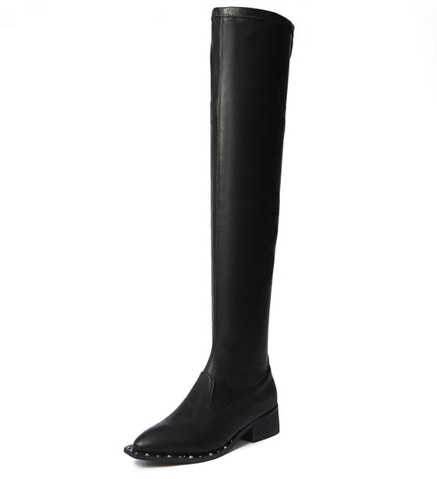 Hottest Selling Women Solid Black Flock Patent Over The Knee Slip On Long Boots Winter Round Toe Low Square Heel Sexy Booties цены онлайн