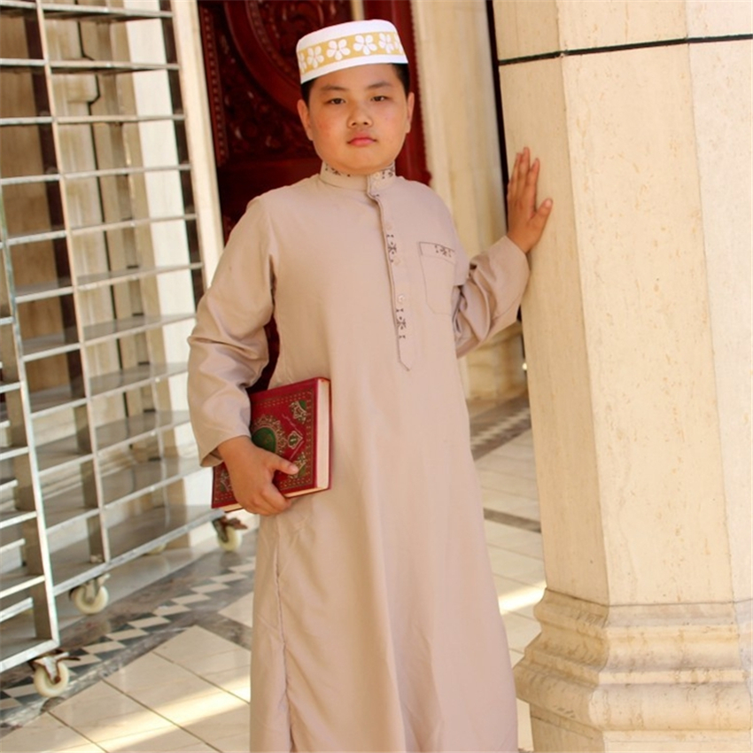 8Color Kids Islamic Clothing Muslim Abaya Dubai Kaftan Robes Boys Jubba Thobes Prayer Eid Mubarak Traditional Costumes 80-170CM