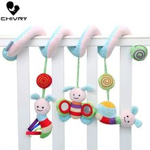 Chivry Cute Baby Music Bed Winding Plush Crib Stroller Hanging Hand Rattles Infant Toys Bee Around The