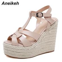 Aneikeh/ г., новые летние женские сандалии повседневные Модные босоножки на танкетке с открытым носком и перекрестным ремешком, супер высокий и толстый низ, черный цвет