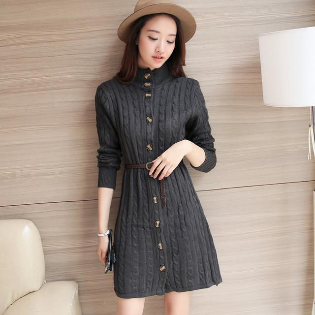 6557-outono Coreano na seção longa de nova torção de malha cardigan vestido 53