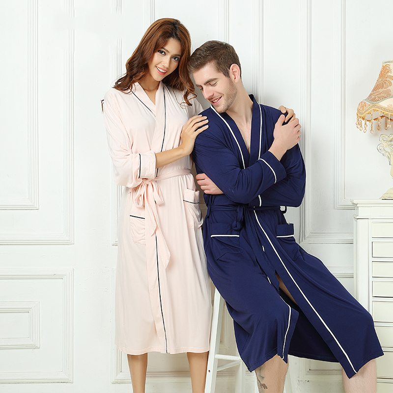 Bamboo Fiber Men Bathrobe Stain Robe Man's Sleepwear Soft Nightgown For Male Pajamas Gown Lounge Wear Nature Bamboo Summer