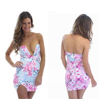 Wholesale Hot Fashion Women Ladies Sexy Tight Short MINI Dresses Shop Online Pink Floral Strapless 2015