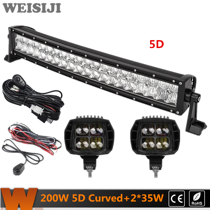 WEISIJI 200W Dual-row 5D Curved LED Light Bar+2Pcs 35W High Beam LED Work Lights+2Pcs Wiring Kits Set for Jeep Truck SUV ATV UTV видеоигра бука saints row iv re elected