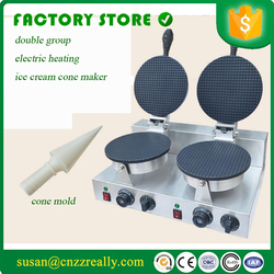 110v or 220V stainless steel electric ice cream waffle cone maker Non-Stick double plate ice cream cone baker