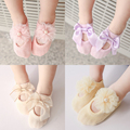 2017 Cotton Baby Girl Socks With Lace Infants Anklet Socks Warm 0 - 6 Month Newborn Baby Girls Princess Bowknots Socks Non Slip