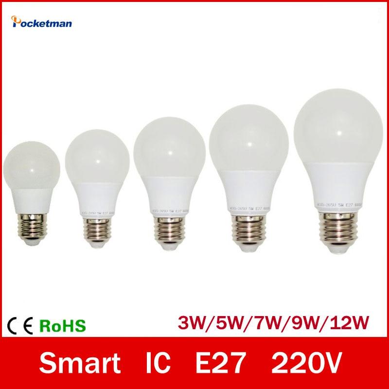 LED Bulb Lamp E27 3W 5W 7W 9W 12W 220V Cold White/Warm White Lampada Ampoule Bombilla LED