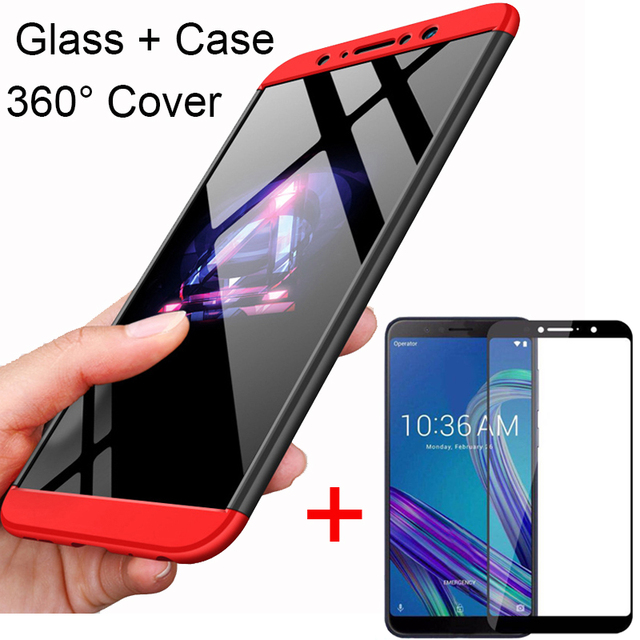 3 in 1 360 Tempered Glass + Case For ASUS Zenfone Max Pro M1 ZB602KL Back Cover Case for Asus ZB602KL 602KL ZB 602KL Glass Gift