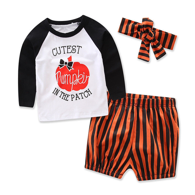 CANIS 2017 Halloween Toddler Baby Girls Long Sleeve Tops T-Shirt Striped Short Pants Headband 3pcs Outfits Baby Clothing Set