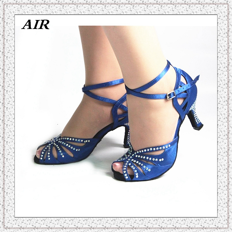 Rhinestone Salsa Dance Shoes Blue Dance Sandals Thin Heels Ballroom Latin Shoes Medium Narrow Customized Satin