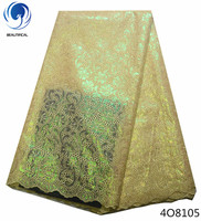 Beautifical luxury lace fabric african organza lace fabric high quality double organza lace 2018 with sequins 5yards/lot 4O81