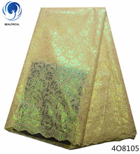 Beautifical luxury lace fabric african organza  high quality double 2018 with sequins 5yards/lot 4O81