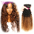 Rosa продукты волос 1B/4/27 Ломбер бразильский девственные Волосы глубокая волна, Ломбер человеческие волосы 3 пучки блондин цвет ombre наращивание волос