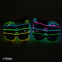 With Dark Lens EL Glasses EL Wire Product 10pieces Make Up Party Glow Sunglasses With Dark