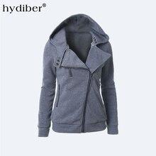 2016 Autumn Winter Flocking Bomber Jacket Women Solid Basic Hooded Cotton Coats Asymmetric Zippers Black Jacket Coats Z28
