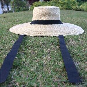 Image 5 - Venta al por mayor sombrero de paja de ala ancha mujeres gorro de playa de verano con lazo negro señoras nueva moda platillo sombrero de sol sombreros Kentucky Derby