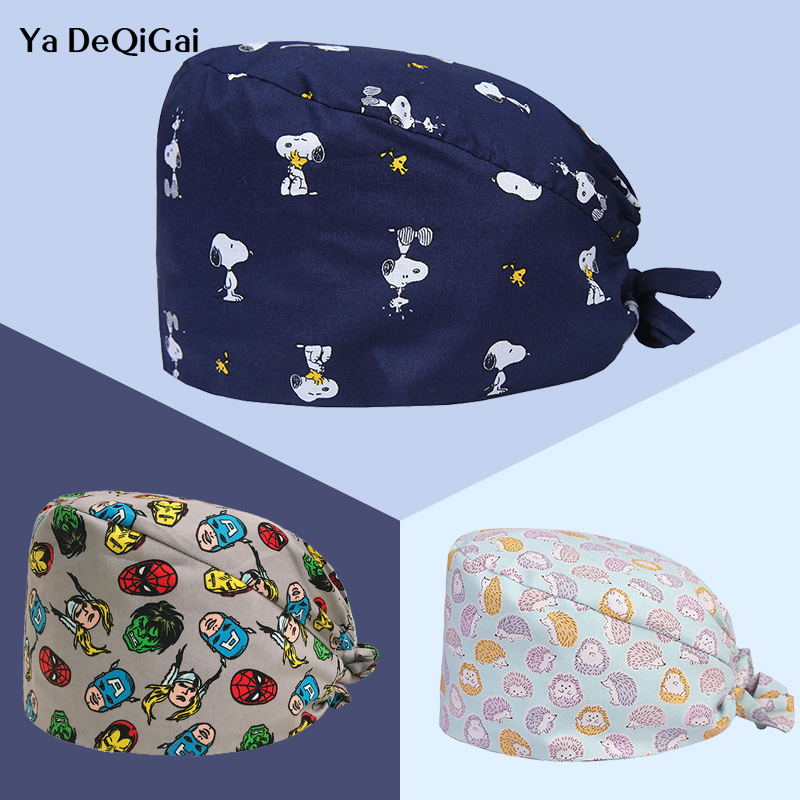 Unisex Printed Medical Surgical Cap High Quality Adjustable Pet Hospital Doctor Nurse Caps Dentistry Pharmacy Hat Men And Women