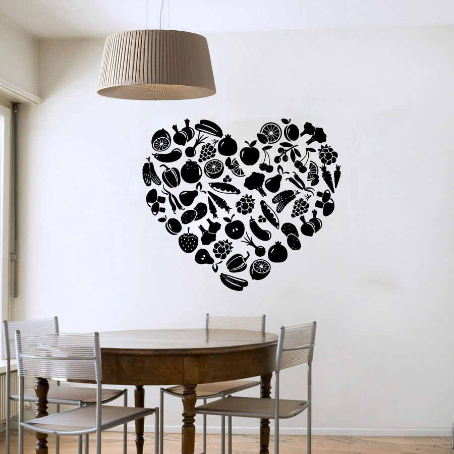 ZOOYOO Heart Shaped Fruit And Vegetable Wall Sticker DIY Removable Home Decor Vinyl Wall Decals For Kitchen