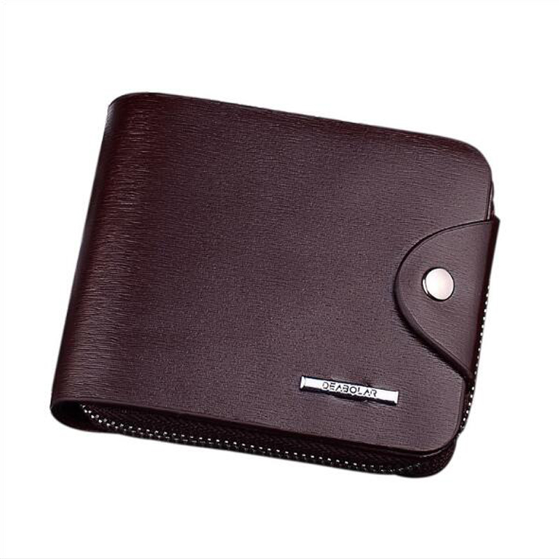 Business PU leather mens short wallet, youth zip business card holder, wallet men,