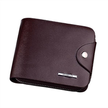 Business PU leather mens short wallet, youth zip business card holder, wallet men,