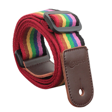 Longteam cotton + leather uukiri shoulder strap with tail nail and Tied rope length 80cm -140cm width 4cm Dark rainbow