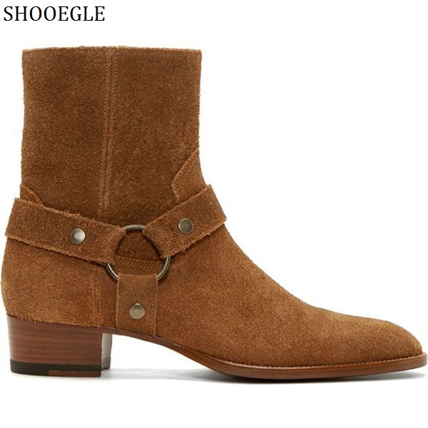 SHOOEGLE Tan Suede Leather Classic Wyatt Men Ankle Boots Justin Bieber Style Western Motorcycle Boots Side Zipper Men's Shoes justin bieber fear of god ankle boots 100% genuine leather kanye west boots men casual shoes fog platform botas knight boots