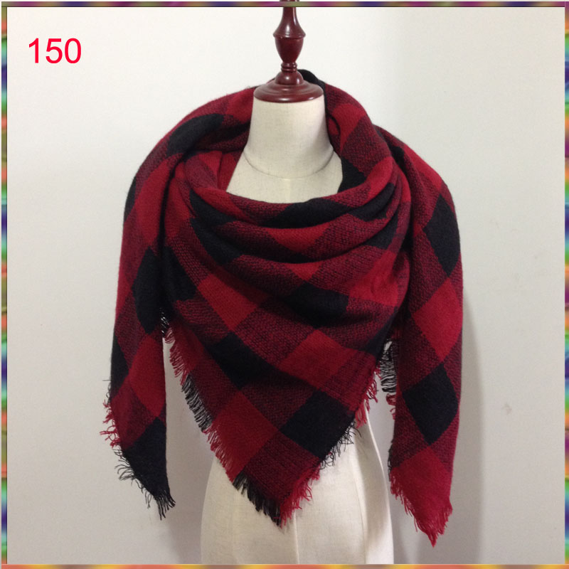 300 colors Hot Sales Fashion Square Scarves Warm soft Scarf Women Wool Plaid Blanket Scarf Pashmina