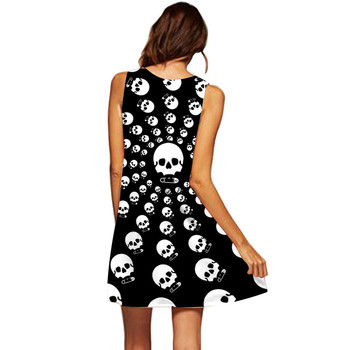 Summer Dress Many Christmas Skull Print Boho Dresses Women Casual Beach Sundress Sleeveless Skull Chiffon Vestidos De Fiesta 1