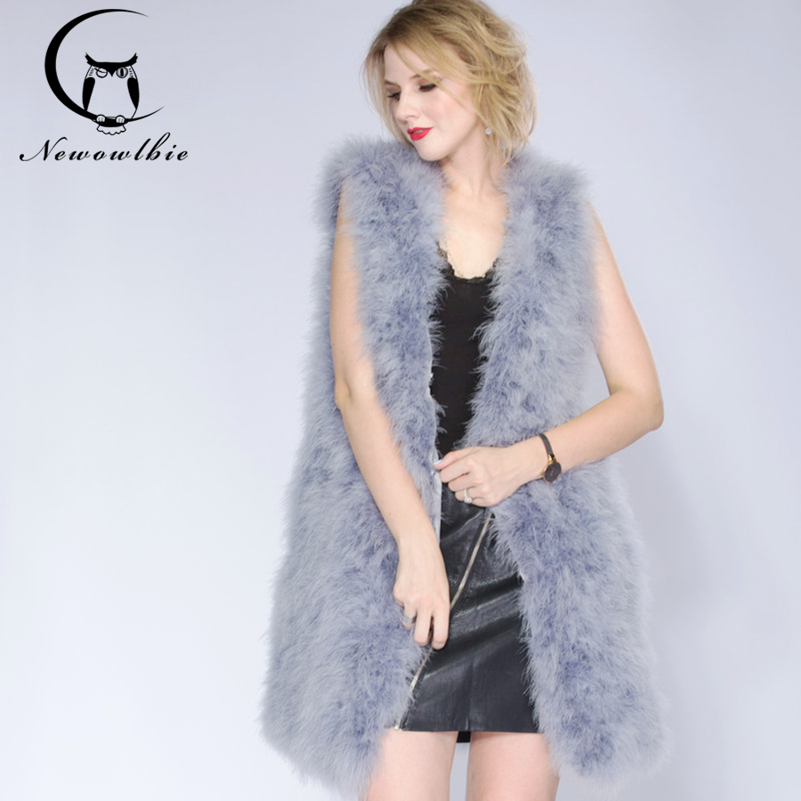 2020 Fashion Sexy Ostrich Wool Turkey Fur Women Fur Coat Feather Fur Vest 90 Cm