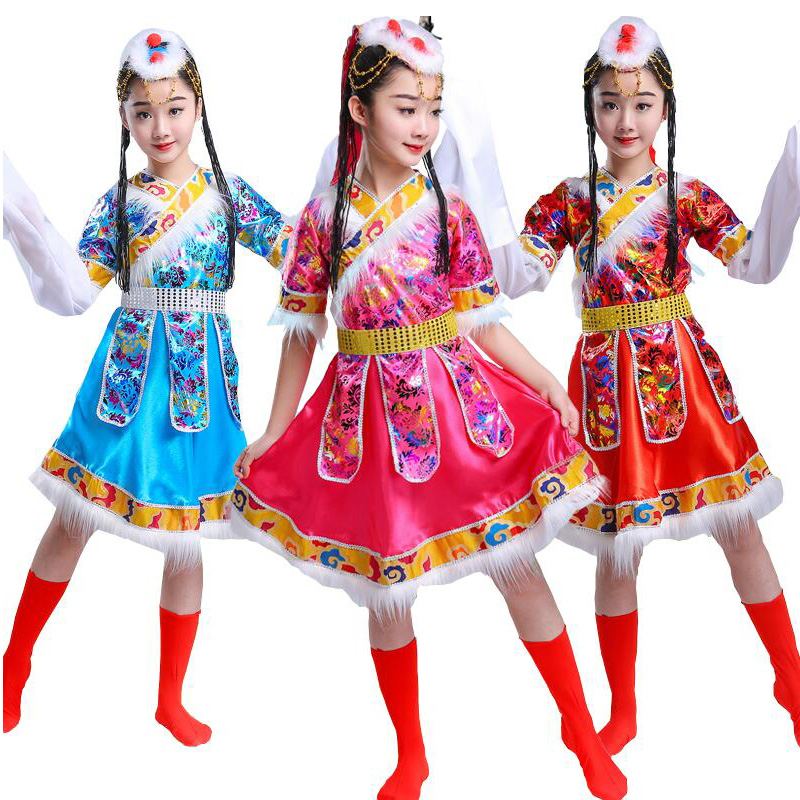 Kids SequinedTibetan Dance Costumes Dress  Girls Chinese Traditional Dance Wear Suits Children Carnival Party Stage Wear Outfits