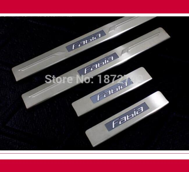 ФОТО LED threshold stickers! 4pcs 2009-2013 for Skoda Fabia Stainless steel door sill Stickers