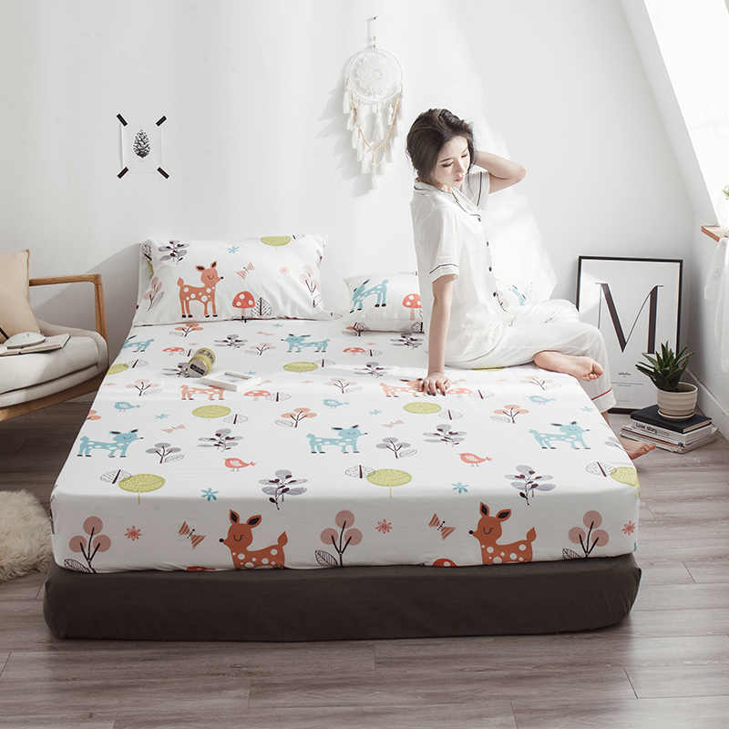 LAGMTA 1pc 100% cotton Cartoon bed sheet fitted sheet four corners with elastic mattress cover can be customizable