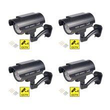 Caméra de Surveillance solaire factice 4 pièces, dispositif de sécurité à lépreuve des balles extérieure, étanche, avec clignotant, rouge LED, livraison gratuite et noire
