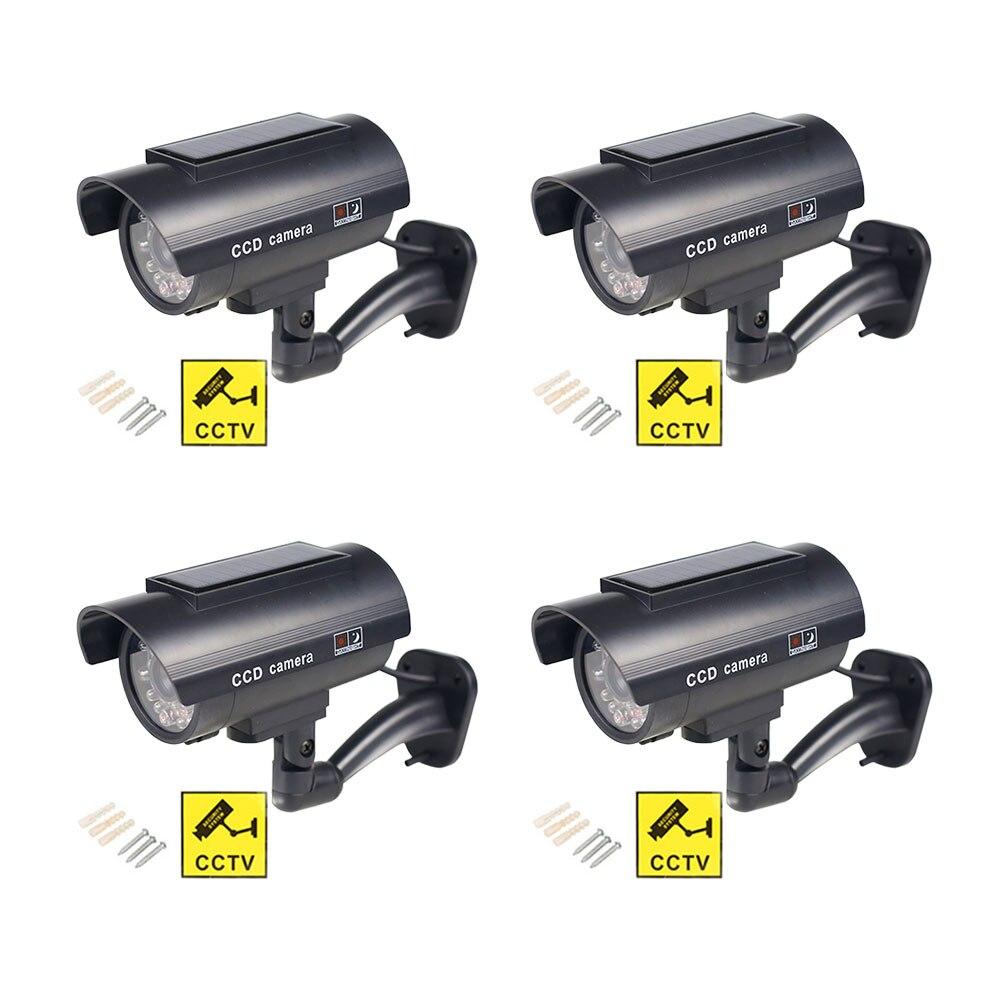 Фальшивая камера на солнечной батарее, 4 шт., цилиндрическая камера безопасности для наружного видеонаблюдения, водонепроницаемая мигающая...