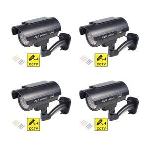 Image 1 - Solar Fake Camera 4pcs Bullet Security Outdoor CCTV Dummy Camera Waterproof Surveillance Flashing Red LED Free Shipping Black