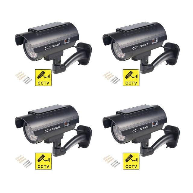 Solar Fake Camera 4pcs Bullet Security Outdoor CCTV Dummy Camera Waterproof Surveillance Flashing Red LED Free Shipping Black