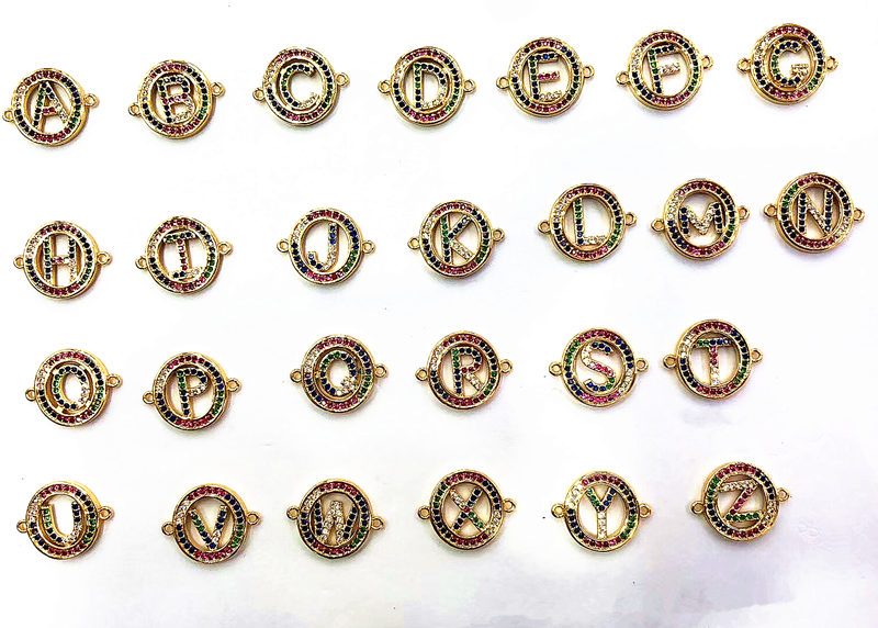 10pcslot Micro Pave Colorful Cubic Zirconia A to Z 26 Alphabet Letter Connector Charm for Bracelet Making Inicial Joyeria
