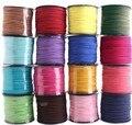 Бесплатная доставка 100 м 3 мм x 1.5 мм многоцветный плоским искусственные замши корейский бархат кожаный шнур DIY веревка для браслет ожерелье