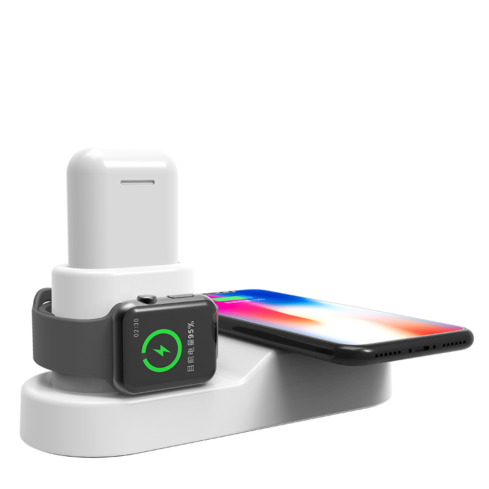 4 in1 Wireless Qi Fast Charger Station for Apple Watch for iPhone X for Airpods Wireless Bluetooth Earphone Charging Pad