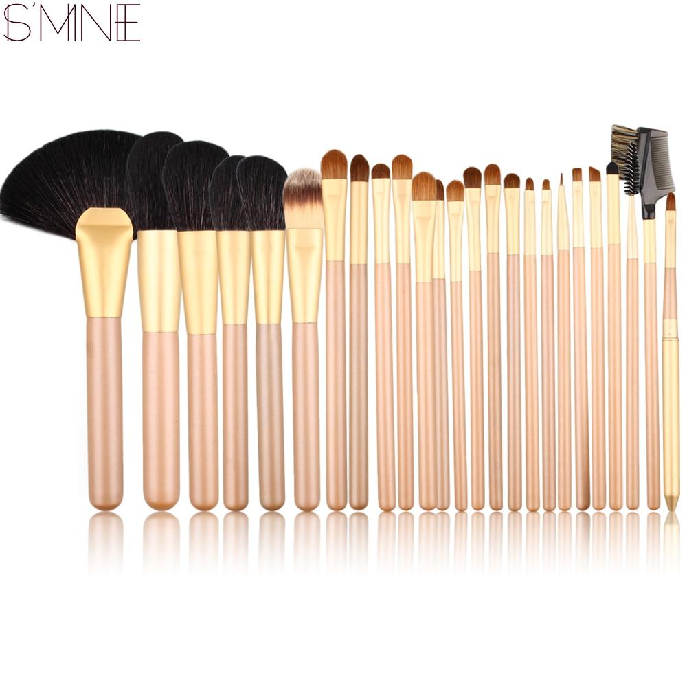 где купить ISMINE Professional 25pcs Makeup Brush Set Superior Animal Hair Gold Handle Cosmetic Brush Kits Powder Eyeshadow Makeup Brushes по лучшей цене