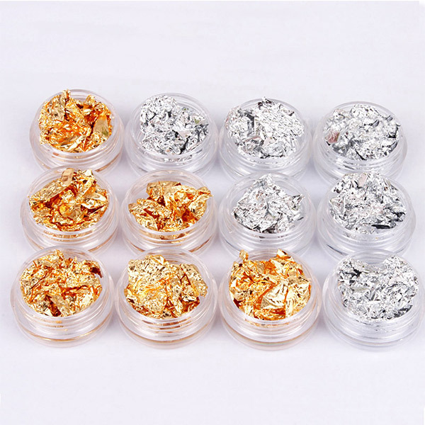 buy 12 pot nail art gold silver foils tip decoration paillette flake glitter. Black Bedroom Furniture Sets. Home Design Ideas