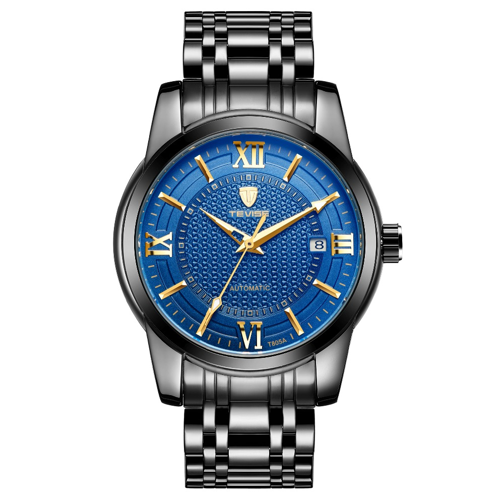 TEVISE Men Automatic Mechanical Watch Stainless Steel Strap Roman Number Design Wrist Watch winner dress classic men automatic mechanical watch stainless steel strap blue roman number transparent case design wrist watch