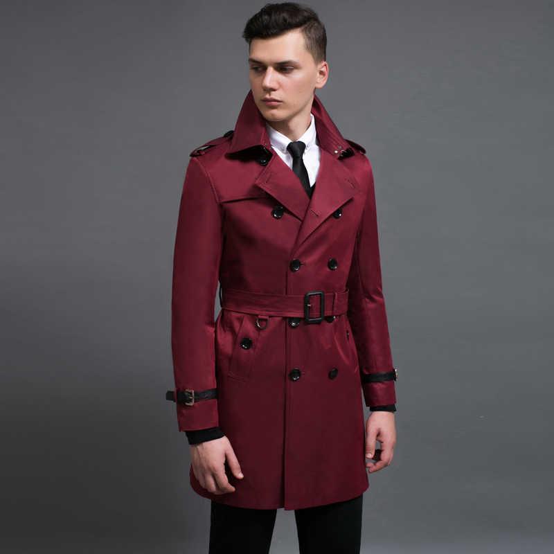 Gabardina Minglu de largo medio para hombre, de cuero con puño de lujo, doble botonadura, chaquetas y abrigos para hombre de talla grande 6xl, gabardina para hombre de primavera y otoño