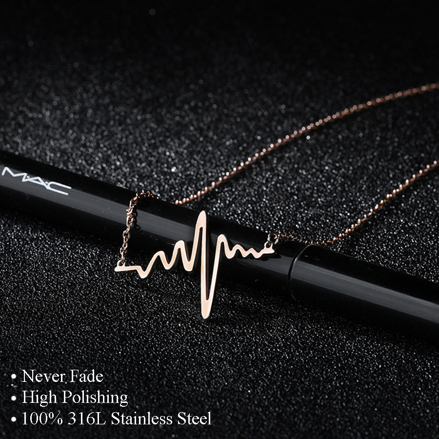 316L Stainless Steel Heartbeat Necklaces & Pendants Career Women High Polished Pendant Letter Love Necklace Friendship Jewelry(China)