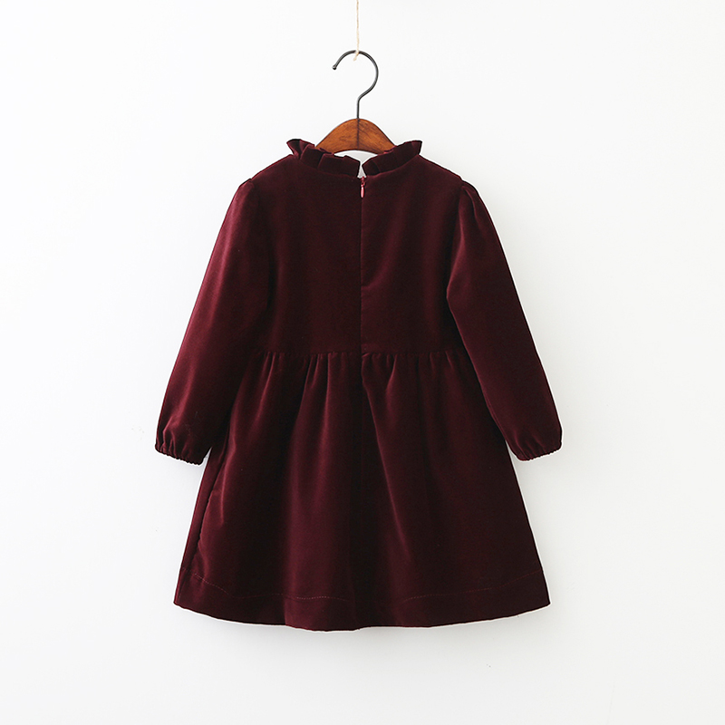 Image 2 - Children Girls Spring Models Cotton Velvet Bow Girls Dress Children Long Sleeved Wood Ear Collar Autumn Baby Girls Kids Tops-in Dresses from Mother & Kids